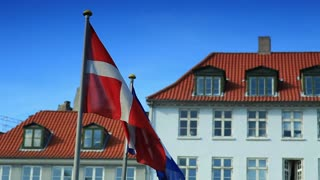 Flags Blow in Wind in Denmark