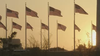 Flags Waving at Sunset