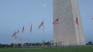 flags waving in the wind, wide shot, Washington DC