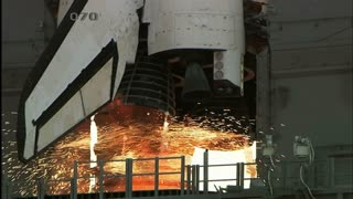 Flames and Fire Coming Out Atlantis Space Shuttle Engines