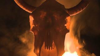 Flames Behind Bull Skull