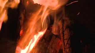 Flames Licking Wood