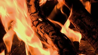 Flames Wrap Around Wood