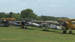 Fleet of Flying Circus Planes Idling