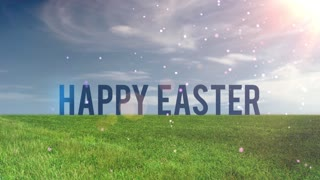 Floating Particles Open Field Happy Easter Text