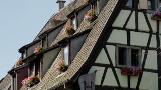Flowers in Windows of Colmar, France House