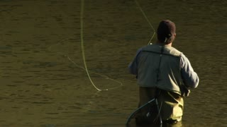 Fly Fisherman Lets Line Drift