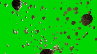 Flying Asteroids on a Green Screen Background