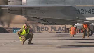 flying control surface check on an F-16 fighting falcon at Red Flag