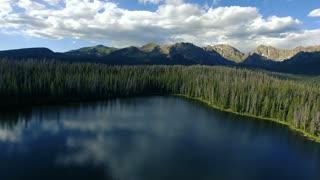 Flying fast over a lake and into a forest of pine trees in the mountains