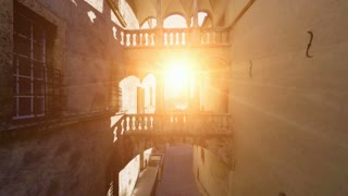 flying into the sun light. nostalgic building. romantic. old. fly over