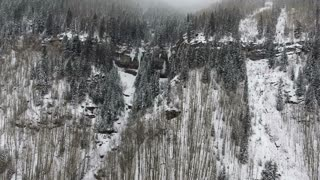 Flying through a snowy forest through pine trees towards icy Rocky Mountain cliffs