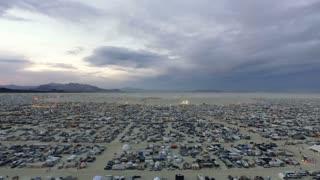 Flying through Burning Man camps 2016 in Black Rock Desert, Nevada