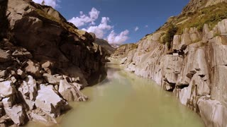 flying through epic canyon river landscape. nature background