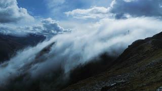 foggy landscape. time lapse