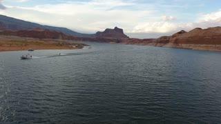 Following a water skier in Lake Powell Utah