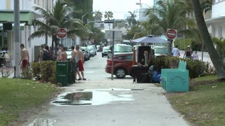 Foot Traffic On Miami Sidewalk
