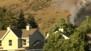Forest Fire Burns Near Homes