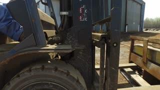 Forklift operation steadicam shot