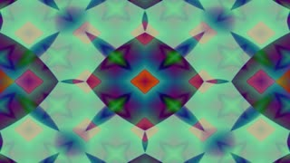 Forms, patterns and colors merge and pulse kaleidoscopically (Loop).