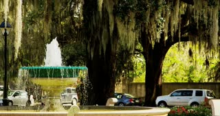 Fountain Nestled in Savannah Square