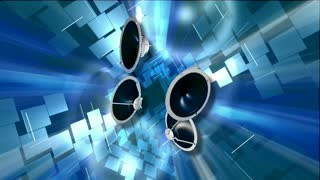 Four Spinning Speaker & Blue Background