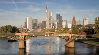 Frankfurt, Germany, River Main & iconic skyscrapers of the Financial district