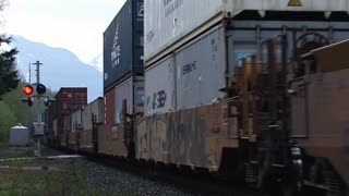 Freight Train Rushing Past in British Columbia