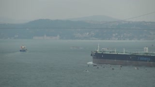 Freighter Heading Toward Bridge on Bosphorus