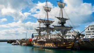 French Frigate Hermione in the Port of Brest, Brittany, France