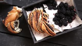 Fresh blackberries and Rustic bread, breakfast or lunch concept