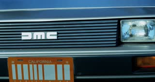 Front Slider Shot of Delorean Logo and Barcode License Plate 4K