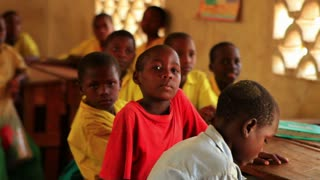 Front View of School Boys in Class in Kenya 4