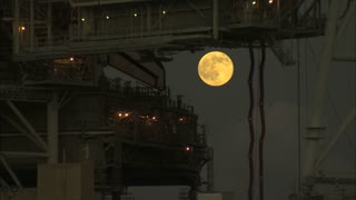 Full Moon Behind NASA Launchpad