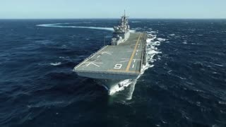Future amphibious assault ship USS America (LHA 6) sails the Gulf.