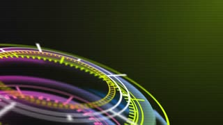 Futuristic HUD chronometer display, hologram elements. Abstract background with animated shapes of circles. Ultra High Definition 4K seamless loop video.