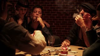 Gangsters Smoking At Poker Table