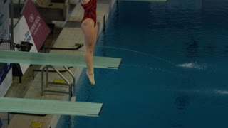 Gatineau, Canada - April 2016 - competitive divers practice for the Canada Cup