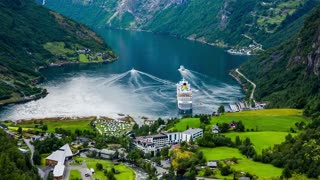 Geiranger fjord, Norway. It is a 15-kilometre (9.3 mi) long branch off of the Sunnylvsfjorden, which is a branch off of the Storfjorden (Great Fjord).
