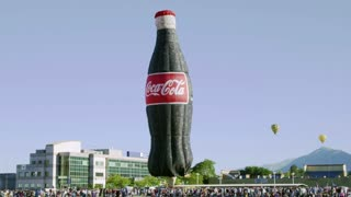 Giant Inflatable Coca Cola Bottle and Hot Air Balloons