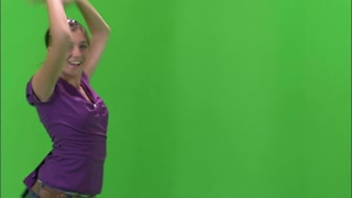 Girl Dancing in Purple Shirt and Jeans on Greenscreen 3