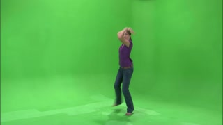 Girl Dancing in Purple Shirt and Jeans on Greenscreen 4