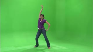 Girl Dancing in Purple Shirt and Jeans on Greenscreen 5