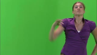 Girl Dancing in Purple Shirt and Jeans on Greenscreen