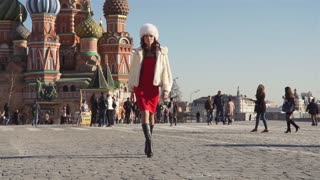 Girl In A Fur Clothes On The Red Square In Moscow