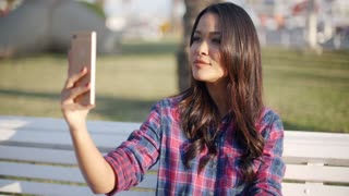 Girl Making Selfie Outdoor