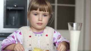 Girl rejecting food. She does not want to eat