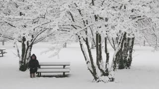 Girl sits on a bench in the winter