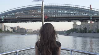 Girl Travel In Sightseeing On Boat Tour
