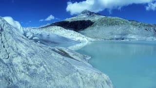 glacier landscape scenery. aerial view. melting ice. blue turquoise colorful